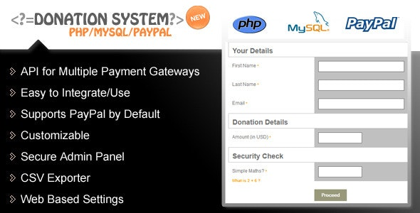 Donation Form / PHP / PayPal / Advanced Reporting - CodeCanyon Item for Sale