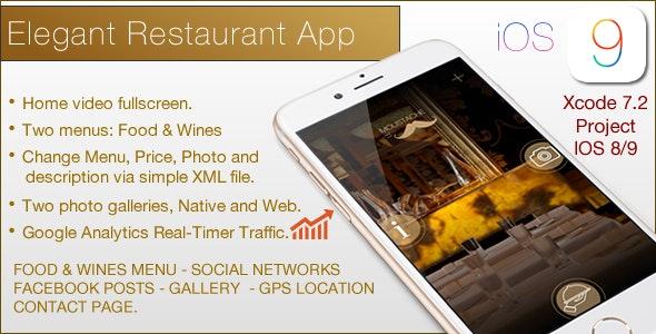 Restaurant Elegant Template IOS - CodeCanyon Item for Sale