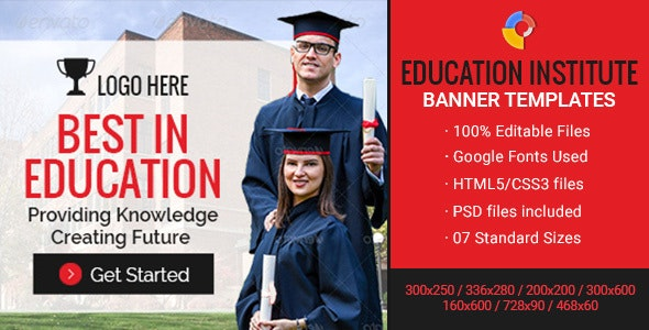 GWD | Education Institute Ad Banners - 7 Sizes - CodeCanyon Item for Sale