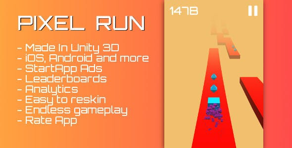 Pixel run - Android and iOS Unity3D game with ads, leaderboards and analytics