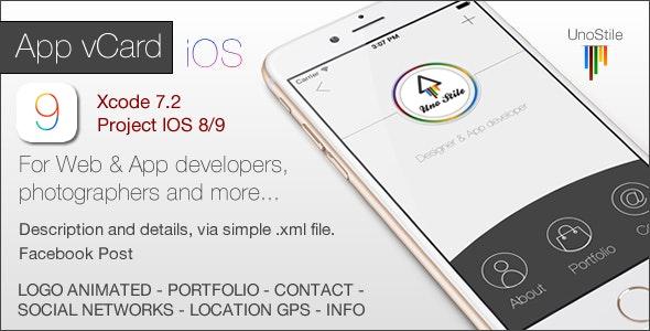 App vCard - Portfolio IOS - CodeCanyon Item for Sale