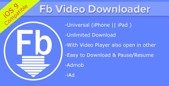Fb Video Downloader iPhone/ iPad by appzforest | CodeCanyon