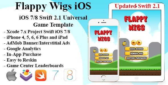 Flappy Wigs Universal iOS Game (Swift Flappy Bird) - CodeCanyon Item for Sale