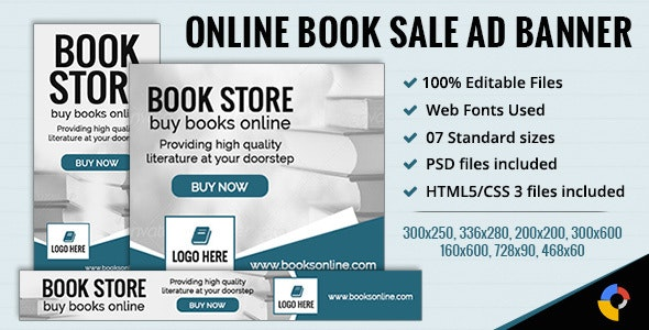 GWD | Online Sale - Book Store Banner - 7 Sizes - CodeCanyon Item for Sale