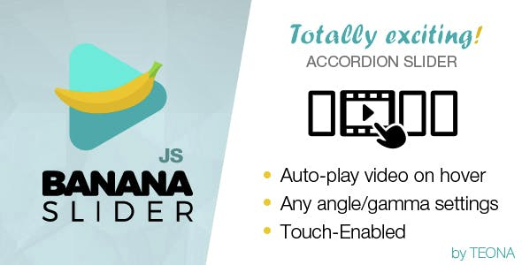 BananaSlider JS Video Slider with accordion effect