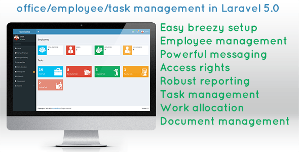 office/employee/task management script in laravel 5.0