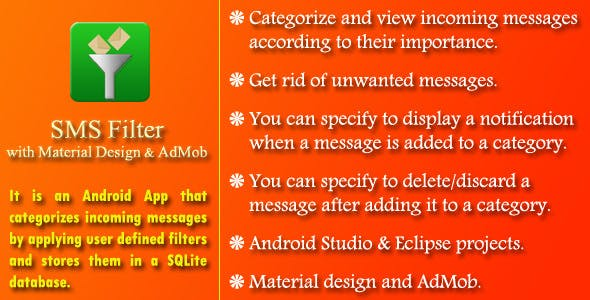SMS Filter with AdMob and Material Design