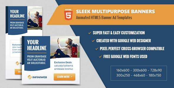 Sleek Multipurpose Banners - HTML5 Animated Ad Templates