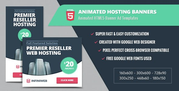 Animated Hosting Banners - HTML5 Google Web Designer