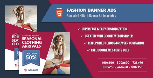 Fashion Banner Ads - Animated HTML5 Templates GWD