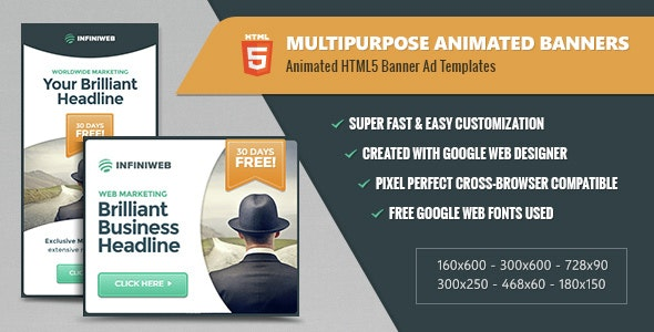 Multipurpose Animated Banners - HTML5 Ad Templates GWD - CodeCanyon Item for Sale