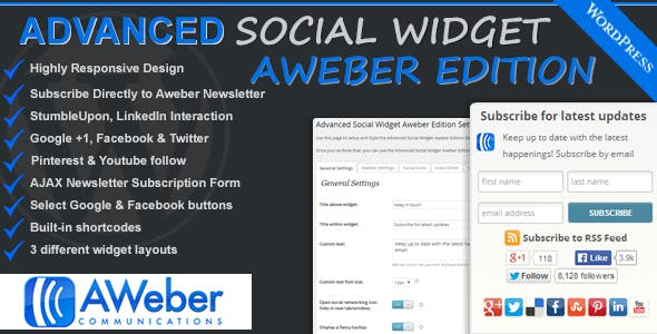 Advanced Social Widget Aweber Edition
