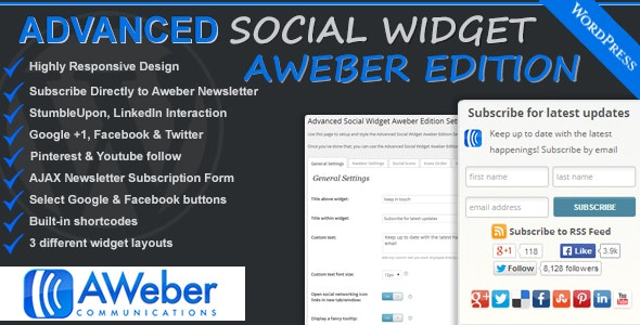 Advanced Social Widget Aweber Edition - CodeCanyon Item for Sale