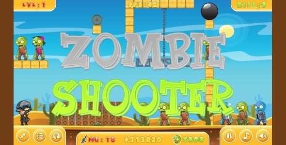 Zombie Shooter - HTML5 Game + Mobile version! (Construct 3 | Construct 2 | Capx)