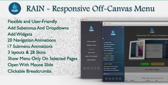 Rain - Responsive Off-Canvas WordPress Menu - CodeCanyon Item for Sale