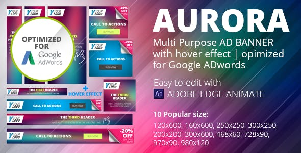 HTML5 Animated Banner Templates | «AURORA» | Edge Animate