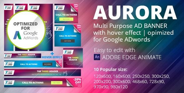 HTML5 Animated Banner Templates | «AURORA» | Edge Animate - CodeCanyon Item for Sale