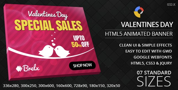 Valentines Day - HTML5 ad banners - CodeCanyon Item for Sale