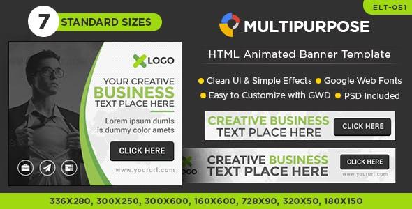 HTML5 Multi Purpose Banners - GWD - 7 Sizes