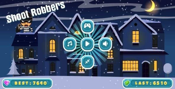 Shoot Robbers - HTML5 Game, Mobile Version + AdMob (Construct 3 | Construct 2 | Capx)