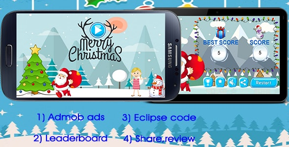 Santa -Admob + Leaderboard + Share + Rate us Button - CodeCanyon Item for Sale