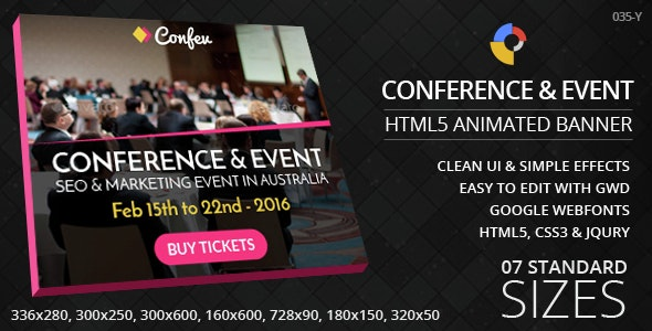 Conference & Event - HTML5 ad banners - CodeCanyon Item for Sale