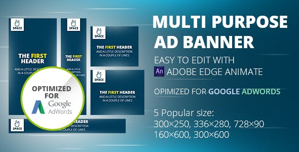 HTML5 Animated Banner Templates | «Space banner» | Edge Animate