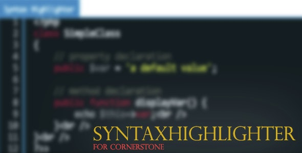 SyntaxHighlighter Element For Cornerstone - CodeCanyon Item for Sale