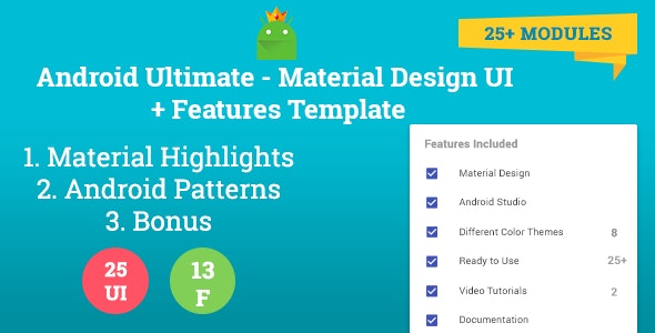 Android Ultimate - Material Design UI + Features Template - CodeCanyon Item for Sale
