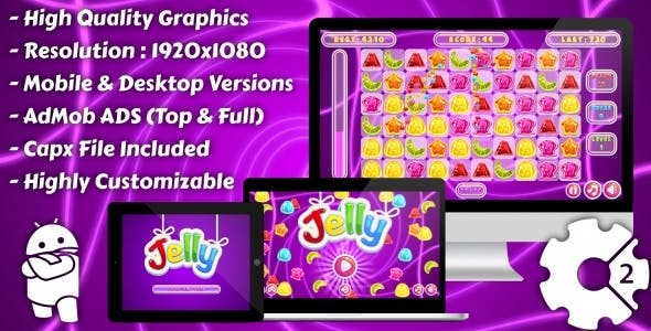 Jelly Match-3 - HTML5 Game, Mobile Version+AdMob!!! (Construct 3 | Construct 2 | Capx)