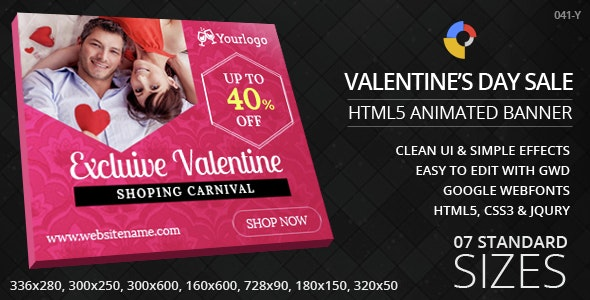 Valentine's Day Sale - HTML5 ad banners - CodeCanyon Item for Sale