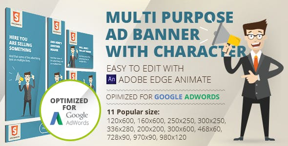 HTML5 Animated banner templates | «Character»  | Edge Animate