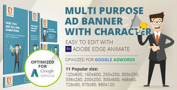 HTML5 Animated banner templates | «Character»  | Edge Animate - CodeCanyon Item for Sale
