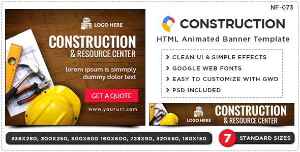 HTML5 Construction & Renovation Banners - GWD - 7 Sizes
