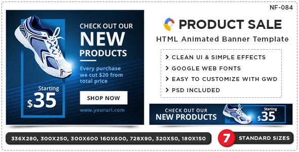 HTML5 Product Sale Banners - GWD - 7 Sizes - CodeCanyon Item for Sale