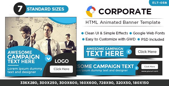 HTML5 Corporate Banners - GWD - 7 Sizes