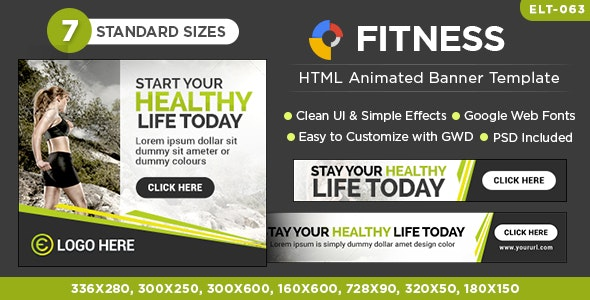 HTML5 Fitness Banners - GWD - 7 Sizes - CodeCanyon Item for Sale