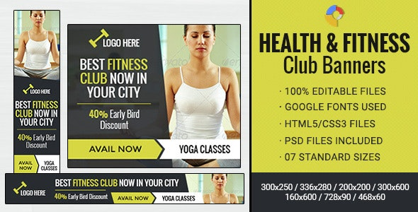 GWD | Health & Fitness Club Banner - 07 Sizes - CodeCanyon Item for Sale