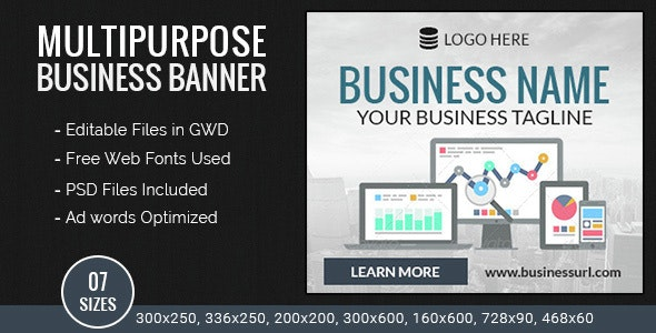 GWD | Business HTML5 Ad Banners - 07 Sizes - CodeCanyon Item for Sale
