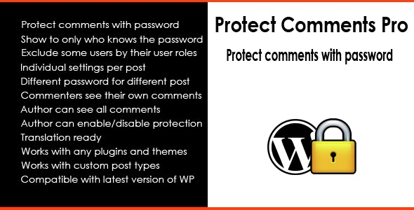 Protect Comments Pro - Protect comments with password - CodeCanyon Item for Sale