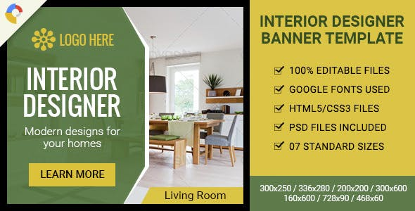 GWD | Interior Designer HTML5 Ad Banner - 07 Sizes