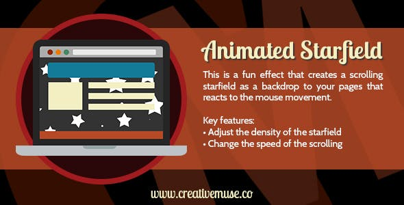 Animated Starfield Widget for Adobe Muse