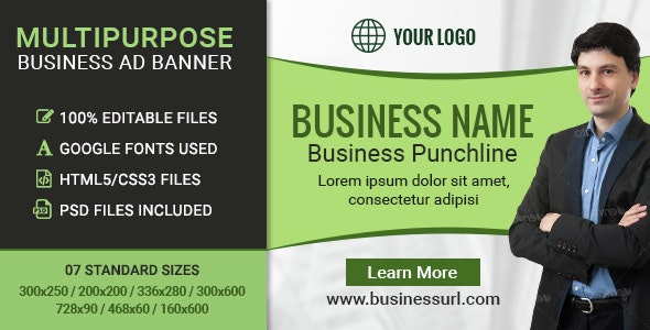 GWD   Business HTML5 Ad Banners - 07 Sizes - CodeCanyon Item for Sale