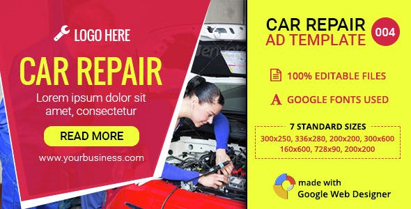 GWD | Car Repair & Service HTML5 Banners - 07 Sizes
