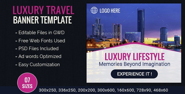 GWD   Luxury Travel & Tourism HTML5 Banners - 07 Sizes - CodeCanyon Item for Sale