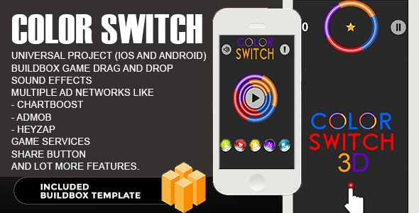 Color Switch 3D - Reskin Tamplet - Buildbox - CodeCanyon Item for Sale