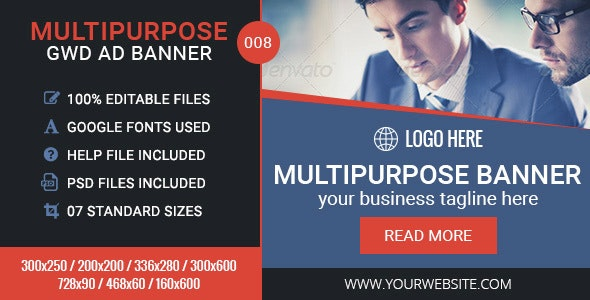 GWD | Multipurpose HTML5 Banners - 7 Sizes - CodeCanyon Item for Sale
