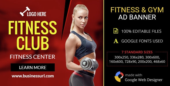 GWD   Fitness Club & Gym HTML5 Banners - 07 Sizes - CodeCanyon Item for Sale