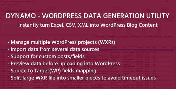 DYNAMO - WordPress Data Generation Utility by savvytheme | CodeCanyon
