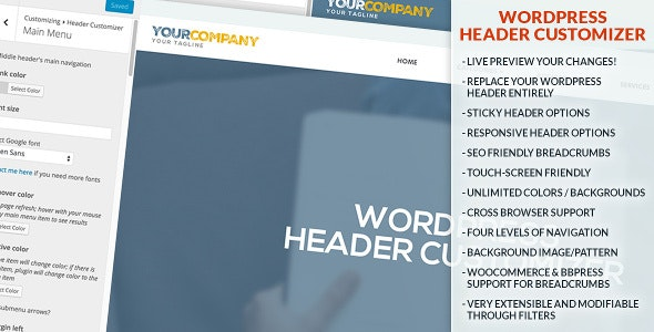 WordPress Header Customizer - CodeCanyon Item for Sale